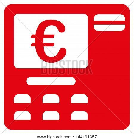 Euro Atm icon. Vector style is flat iconic symbol with rounded angles, red color, white background.