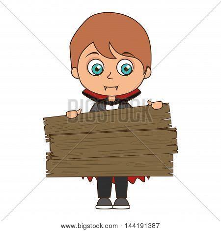 cute kid in a vampire costume halloween season vector illustration