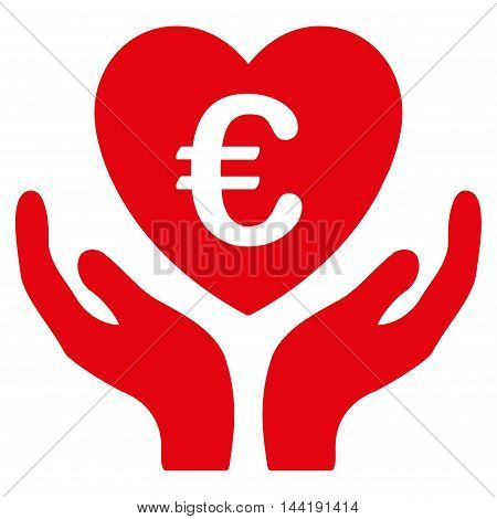 Euro Care Hands icon. Vector style is flat iconic symbol with rounded angles, red color, white background.
