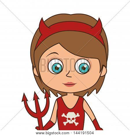 cute kid girl in a devil costume halloween season vector illustration