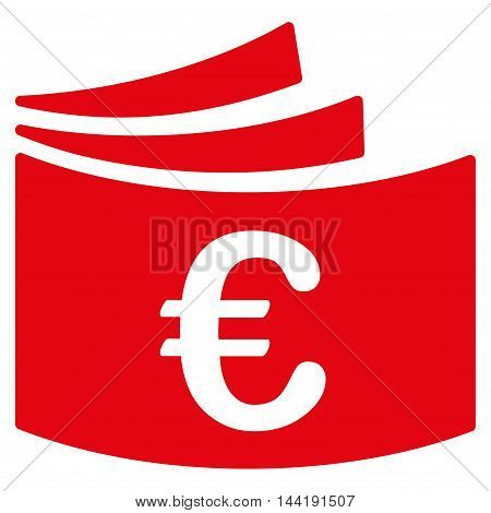 Euro Checkbook icon. Vector style is flat iconic symbol with rounded angles, red color, white background.