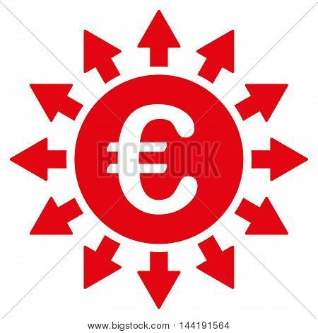 Euro Payments icon. Vector style is flat iconic symbol with rounded angles, red color, white background.