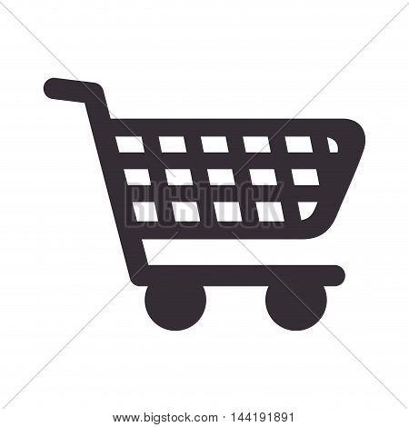shopping cart market store commerce silhouette vector illustration