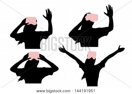 silhouette of woman take virtual reality headset wuth white background