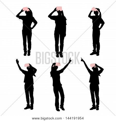 silhouette of woman take virtual reality headset show something white background