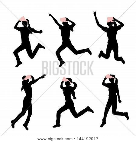 silhouette of woman take virtual reality headset run and jump with white background