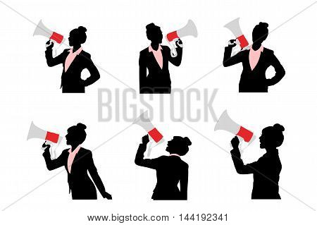 silhouette of business woman shout with microphone happily