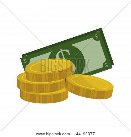 money green bills and coins cash finance and economy symbol vector illustration