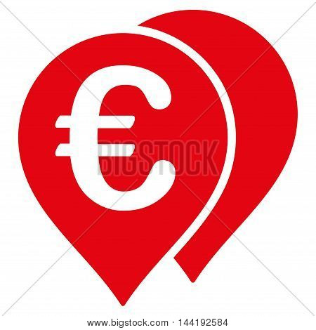 Euro Map Markers icon. Vector style is flat iconic symbol with rounded angles, red color, white background.