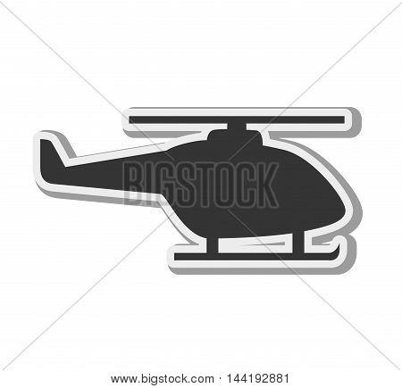 transport vehicle helicopter flying side view silhouette vector illustration