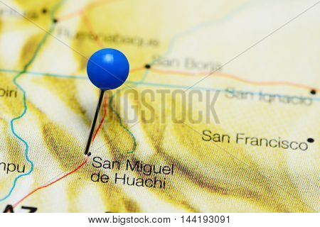 San Miguel de Huachi pinned on a map of Bolivia