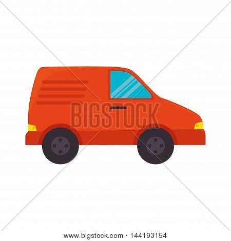orange car vehicle transportation automobile side view vector illustration
