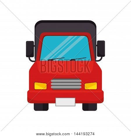 red cargo truck transportation vehicle front view vector illustration