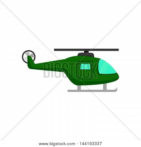 transport vehicle green helicopter flying side view vector illustration