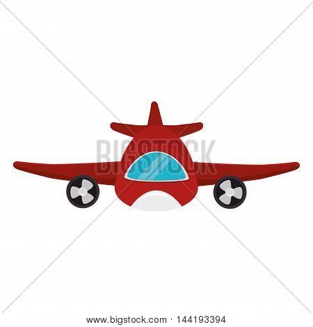 transport vehicle red airplane flying front view vector illustration