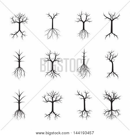Set Black Trees. Vector Illustration. Nature and Garden.