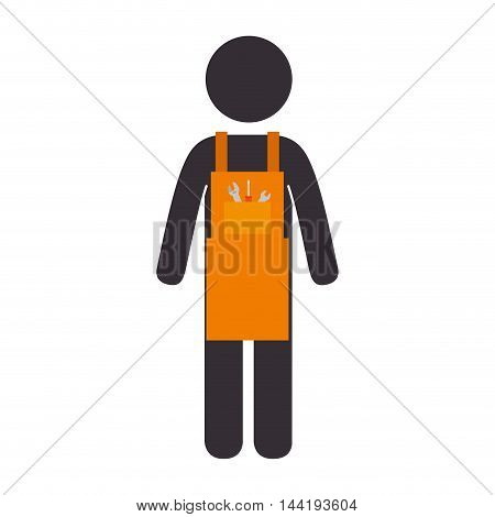 construction man worker wearing orange overall and  helmet vector illustration