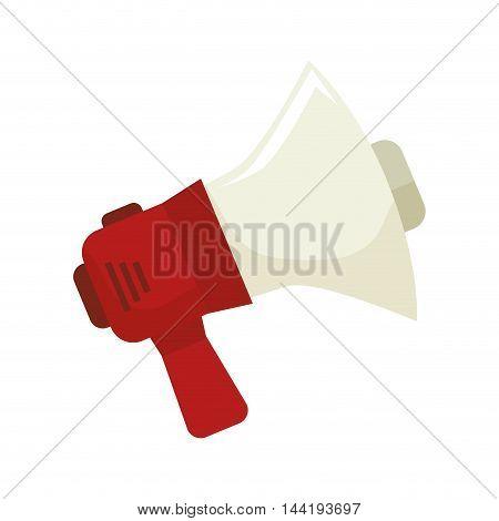 red and white speaker megaphone loudspeaker vector illustration