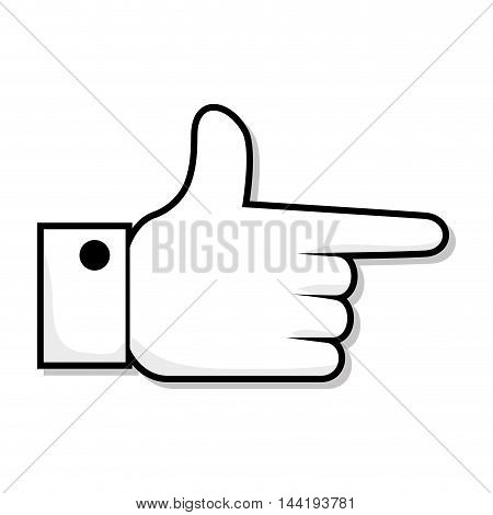hand pointing finger direction gesture and communication vector illustration