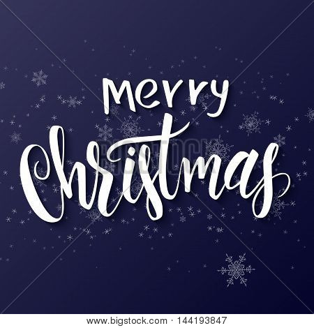 Vector hand drawn lettering - merry christmas - on a gradient background with flying snowflakes.