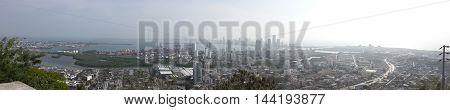 ciudad, paisaje, cartegena, vista total de la ciudad.