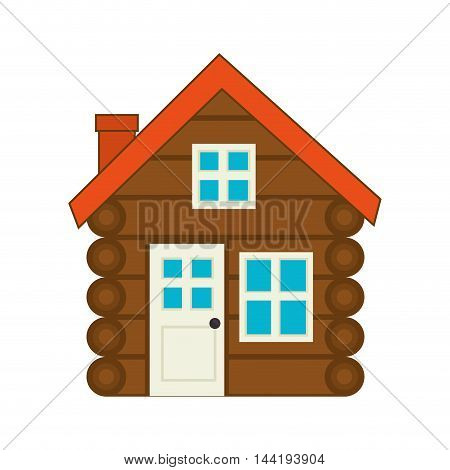 log cabine house wooden with chimney door and windows vector illustration