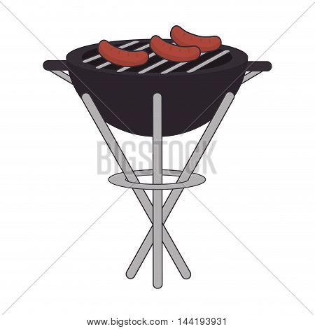 barbecue grill food bbq steak portable equipment vector illustration