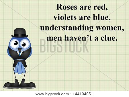 Comical understanding women poem on graph paper background with copy space for own text