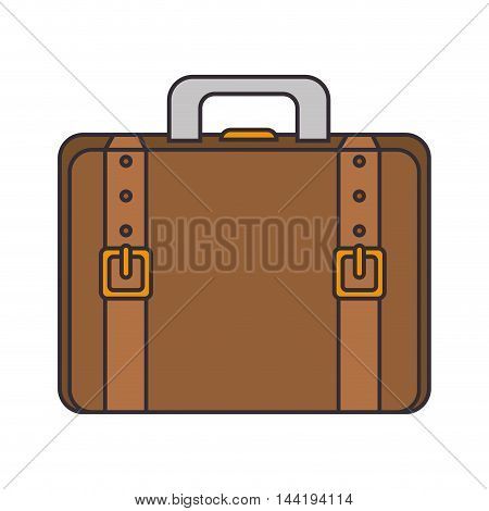 briefcase portfolio leather belt accessory hand  bag vector illustration