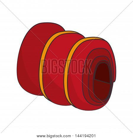 slepping bag red roll  camp equipment adventure vector illustration