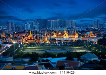 Tilt Shift Effect Wat Phra Kaew Temple of the Emerald Buddha Grand palace at twilight Bangkok Thailand