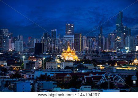 The golden mount at wat sraket rajavaravihara temple travel landmark of Bangkok Thailand