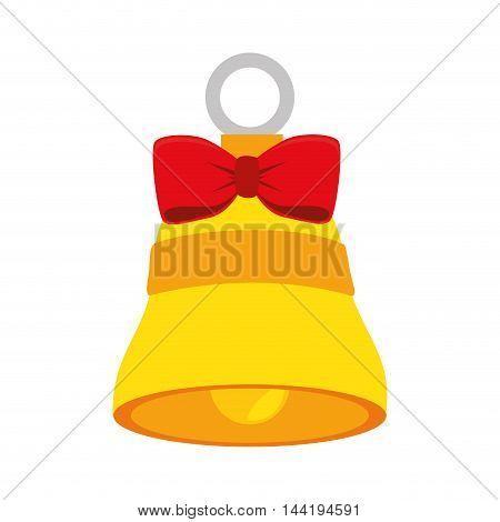 bell instrument gold red ribbon decoration element vector illustration