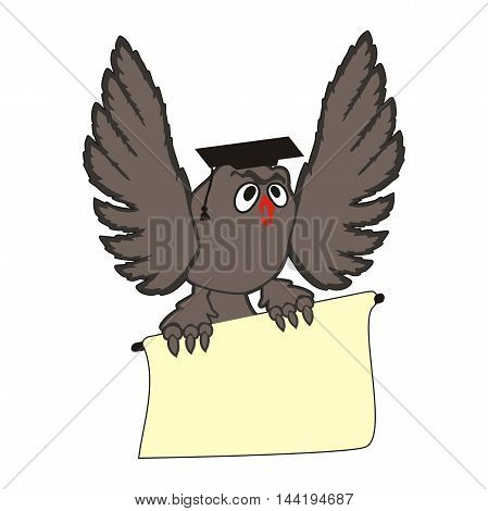 Vector flying cartoon owl with a sign in its claws