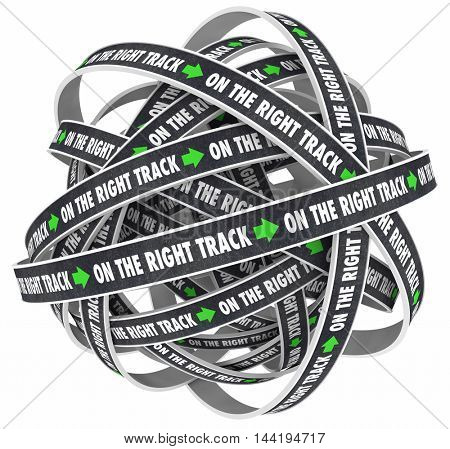 On the Right Track Road Direction Ball 3d Illustration