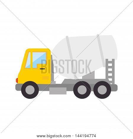mixer truck construction concrete vehicle industry vector illustration