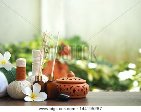 Spa massage, treatment and herbal ball, Thailand, select and soft focus