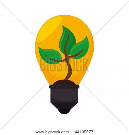 bulb power light ecology tree plant growing vector illustration