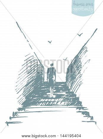 Silhouette of a businessman climbing stairs. Ambitions, growth, opportunity. Concept vector illustration, sketch