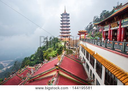 Pahang, Malaysia - August 19, 2016: Chin Swee Caves Temple which is located at Genting Highlands,the tourists visiting and exploring around it.