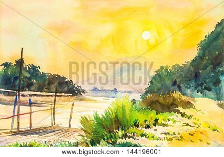 watercolor lanscape painting yellow orange color of sunset in sky and cloud background original painting.