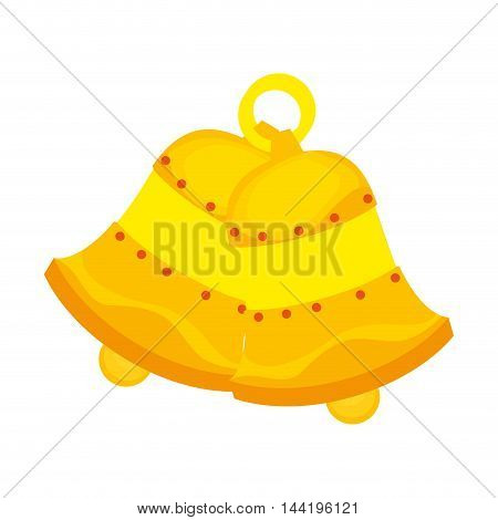 gold bell jingle handbell instrument decoration vector illustration