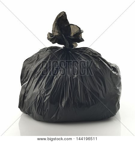 Black Garbage Bag on White Background Shot in Studio