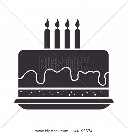 cake dessert food birthday candles pastry bakery sweet  silhouette vector illustration