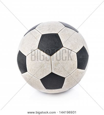 Shabby soccer ball on white background dirty