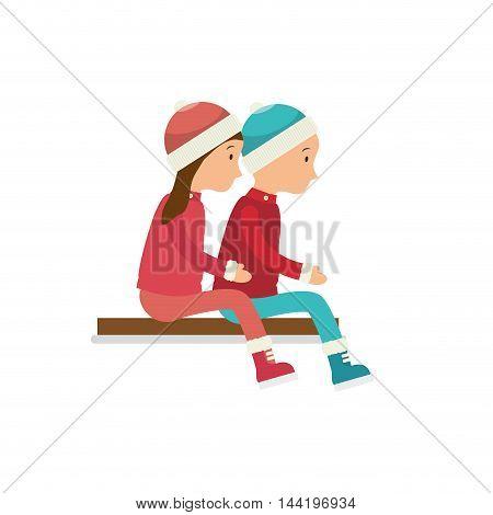 child girl boy cartoon winter game entertaiment vector illustration