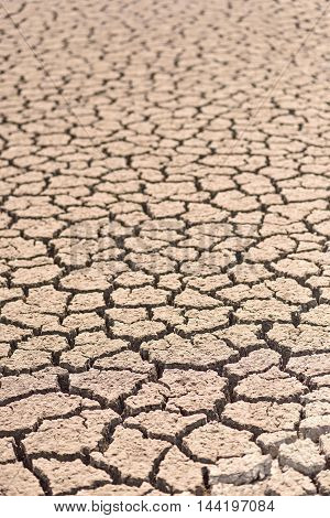 Cracked and barren ground earth soil background