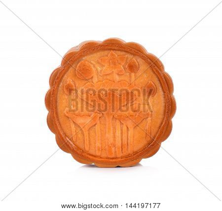 mooncake on white background sweet food brown