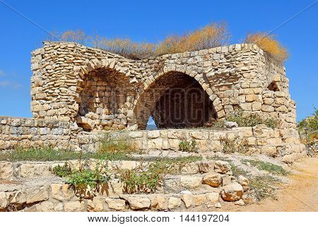 ruins of an old house in the jewish religious quarter in Safed, Upper Galilee, Israel