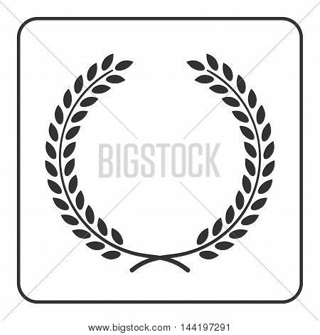 A laurel or wheat wreath icon symbol victory achievement and grain natural food. Design element for medals awards coat of arms logo. Silhouette isolated on white background. Vector illustration